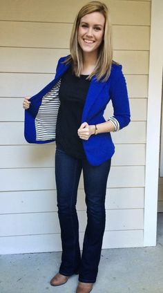 Like this blazer - awesome color and fun. Also LOVE the boot cut jeans (although I'm nowhere near that skinny.
