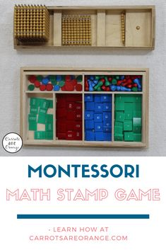 Learn the Montessori Math Stamp Game Lessons and gather resources for your child's early childhood math learning! Montessori Homeschool, Montessori Elementary, Montessori Classroom, Homeschool Kindergarten, Montessori Toddler, Montessori Activities, Preschool Math, Fun Math, Maths