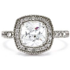 A Perfect 2CT Asscher Cut Halo Russian Lab Diamond Engagement Ring