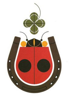 Charley Harper Lady bird in a horse shoe