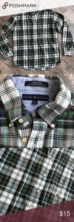 "Vtg Tommy Hilfigar Green Plaid Button Down Shirt Tommy Hilfigar Green Plaid Button Down Shirt. Size Medium. Fabric: 100% cotton. Armpit- armpit 22"", Length 29"" long. Tommy Hilfiger Shirts Casual Button Down Shirts"