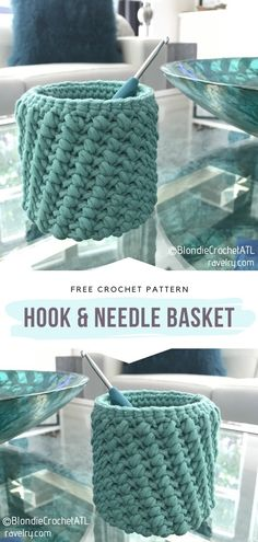 Hook & Needle Basket Free Crochet Pattern This small but sturdy basket will keep your crochet hooks safe and ready to use. It is decorative and so practical at the same time! Slip Stitch Crochet, Crochet Hook Case, Basic Crochet Stitches, Crochet Hook Sizes, Diy Crochet, Crochet Hooks, Crochet Baby, Small Crochet Gifts, Crochet Organizer