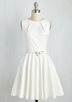 Luxe Be a Lady Dress in White. If you've been searching for a flirty new frock, then you're in luck! #modcloth