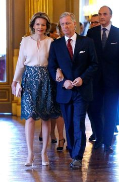 Queen Mathilde of Belgium and King Philippe of Belgium held a traditional New Year's reception for the Members of Belgian Parliament at the Royal Palace on January 28, 2016 in Brussels, Belgium.