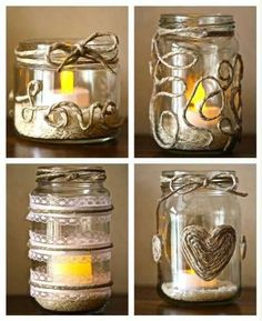 Ideas for some DIY recycled glass jars. LOVE the twine!Ideas for some DIY recycled glass jars. LOVE the twine! Crafts With Glass Jars, Mason Jar Crafts, Bottle Crafts, Mason Jar Projects, Mason Jars, Candle Jars, Homemade Candles, Diy Candles, Diy Recycling