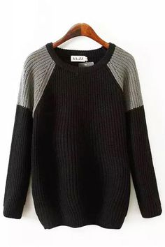 Contrast Color Round Neck Long Sleeve Pullover Sweater