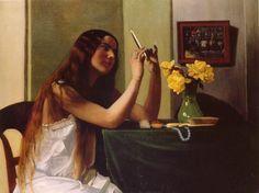 """Félix VALLOTTON 1865-1925 - """"La Toilette"""" ou """"Jeune Femme au miroir"""" - Huile sur toile 81 cm x 116 cm - Peint en 1911 - Localisation: Genève, musée du Petit-Palais"""