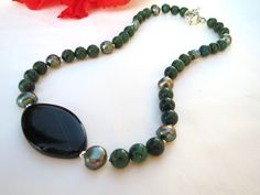 Green stone necklace with azurite freshwater by InsomniacTreasures, $45.00