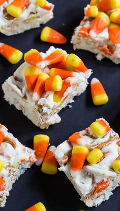 Candy Corn Fudge with pretzels and white chocolate.