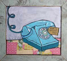 """""""Old  Fashion Phone"""". History & Art Lesson. Find images or examples of objects that were common 20-40 years ago & are now obsolete (or nearly obsolete). Create simples portraits of them and hang these in a school 'museum' exhibition. (Guaranteed to make your teachers feel really old. . . LOL)."""