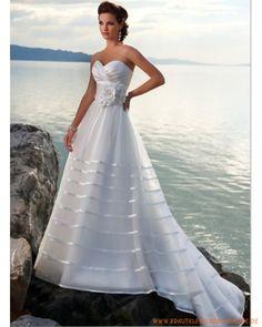 2013 Brautkleid aus Satin V-Ausschnitt mit gerafftem Korsett und A-Linie Rock