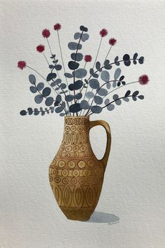 """""""Pink Billy Button and Silver Dollar in Retro Vase"""" by Sally Browne. Paintings for Sale. Watercolor Plants, Watercolor Art, Contemporary Decorative Art, Birthday Card Drawing, Botanical Wall Art, Plant Art, Arte Popular, Naive Art, Doodle Drawings"""