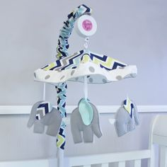 Musical Mobile with cute grey elephants will keep baby mesmerized. Elephants have ears in matching Chevron Navy fabrics. Musical Mobile, Navy Fabric, Grey Elephant, Chevron, Nursery, Elephants, Ears, Room, Pregnancy