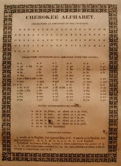 Cherokee Indians could read and write. First to translate the Bible to the native tongue. Cherokee Alphabet, Cherokee Symbols, Cherokee History, Cherokee Tribe, Native American Cherokee, Native American Symbols, Native American History, American Indians, Cherokee Indians