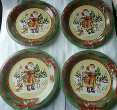 Woodland Santa by NOBLE EXCELLENCE DINNER PLATES holiday christmas set of 4