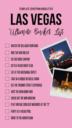 Ultimate Vegas Bucket List : How many can you check off of this Vegas Bucket List? Everything you need to do in Vegas. The ultimate Vegas bucket list with the best things to see, do, and eat in Las Vegas! Las Vegas Vacation, Vacation Trips, Travel Vegas, Vegas Fun, Las Vegas Hotels, Vacation Packages, Vacation Destinations, Vacations, Vegas Packing