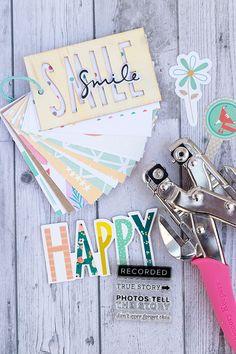 mojosanti : Gossamer Blue Inspiration Blog Hop September 2015 I Mini album 'Smile' with wood veneer cover