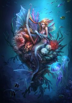 Fairies, dragons and other mythological creatures  ‎~ Mermaid.    Art by http://tn3h.deviantart.com/