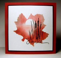 handmade card ... sweet sunset scene sponged and stamped through a stencil in the shape of a maple leaf ... beautiful colors ... cattail silhouettes just right for a lakeside scene ... great card!!