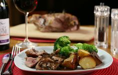 Roast Lamb and New Potatoes with Red Onion & Balsamic Gravy