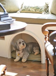 Pet alcove in a window seat (make it wide on the inside and it turns into a child hideout - rad!).