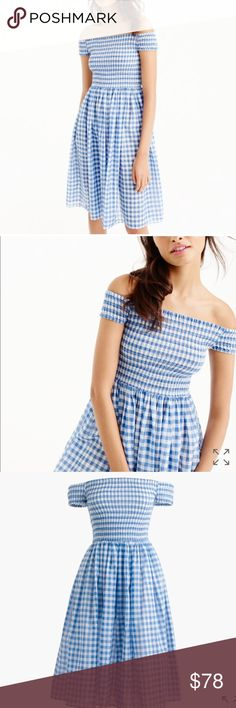"""J. Crew Smocked Off The Shoulder Beach Dress This dress is perfect for poolside or beach. It falls above the knee at a length of 35"""". It's made of cotton, unlined and slightly sheer. Machine wash. J. Crew Swim Coverups"""