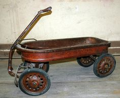 Your place to buy and sell all things handmade Antique Metal, Antique Toys, Vintage Toys, Vintage Antiques, Kids Wagon, Toy Wagon, Wheelbarrow Wheels, Wooden Wagon, Little Red Wagon