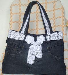 A MODISTA - BOLSAS ARTESANAIS : Bolsa de calça jeans