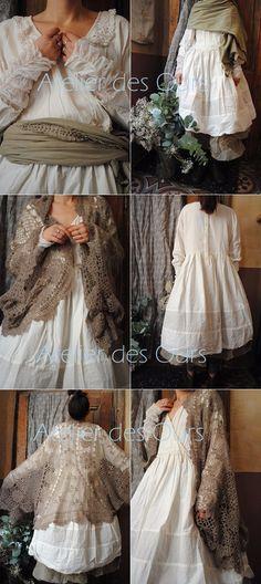 MLLE FLORALINE : Gilet au crochet Mes Demoiselles, robe écrue, jupon mastic EWA IWALLA, chaussures TRIPPEN