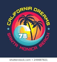 California - Santa Monica beach - vector illustration in vintage graphic style for t-shirt and other print production. Palms, wave and sun creative logo badge design. Palm Tree Drawing, Badge Design, Tee Shirt Designs, Creative Logo, Silhouette Design, Vector Art, Surfing, Royalty Free Stock Photos, Typography