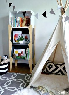 Big Boy Room - teepee, cool shelves, triangle banner!