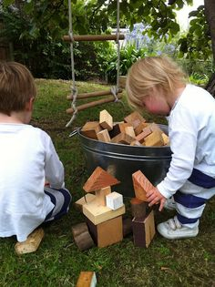Bucket of outside blocks made from scrap wood! (I know a little boy who needs some of these!!)