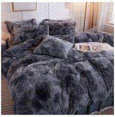 Bedroom Decor For Teen Girls, Room Ideas Bedroom, Home Decor Bedroom, Bedroom Comforter Sets, Grey Bedding, Teen Bedding Sets, Fur Bedding, Bohemian Bedding Sets, Fluffy Bedding