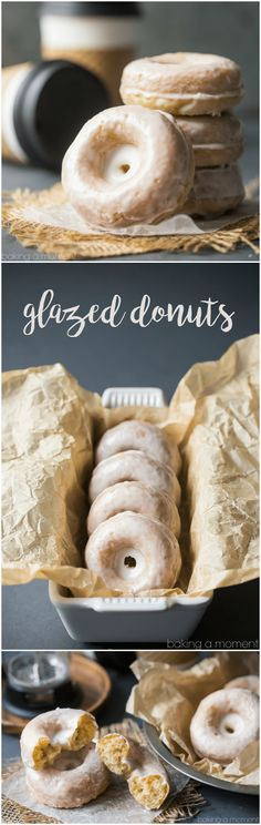 Glazed Donuts: Simple, old fashioned, and SO good.  These sour cream cake donuts are spiked with nutmeg and a hint of vanilla.  food breakfast brunch via @bakingamoment