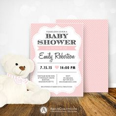 Baby Shower Invitation Printable Editable  Baby Girl by AmeliyCom, $12.00 INSTANT DOWNLOAD Printable Baby Girl Shower Invitation. Flyer Invate 5x7 Editable Pink Invitation + Polka Dots Backside.  Just print, cut and ready to go!  DIY ♥ Printable ♥ Digital PDF for home printing