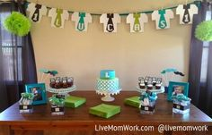 1st birthday ties | Baby I / Little Man mustache and tie boy's first birthday party cake ...