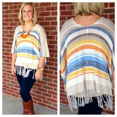 Courtney pairing our new fringe poncho with our denim jeggings, Frye boots, and Faire Collection necklace. Now available at Emma Laura-Graceful Gold located in Ivy Place 2032B Veterans Blvd. Dublin, GA 31021 478-272-2095 www.emmalaura.com Check us out on Facebook at https://www.facebook.com/pages/GRACEFUL-GOLD-JEWELRY-CO/163839008625