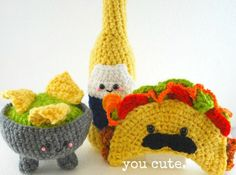 PDF Crochet Pattern- Amigurumi Taco Shop Trio. $7.00, via Etsy.