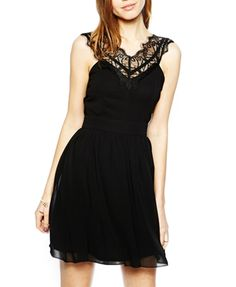Lace Splice Sleeveless Dress