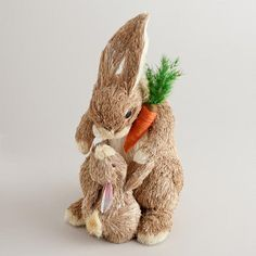 Natural Fiber Mama and Baby Bunny Decor at Cost Plus World Market >>  #WorldMarket Easter Style Hunt Sweepstakes. Enter to win a 1K World Market gift card.