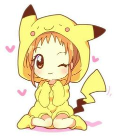 Chibi pikachu really cute. I believe that is Misty in that Pikachu suit Pikachu Pikachu, Pikachu Bebe, Pikachu Hoodie, Pikachu Suit, Deadpool Pikachu, Anime Chibi, Manga Anime, Anime Art, Manga Kawaii