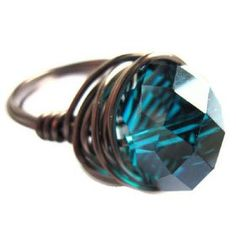 (14659) Teal Glass Antiqued Brass Wire Wrap Ring from Gift Wrapped & Gorgeous