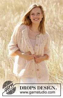 Summer Peach Jacket - Knitted jacket in DROPS Air and DROPS Brushed Alpaca Silk. Drops Cotton Light, Drops Kid Silk, Drops Baby, Knitting Blogs, Knitting Patterns Free, Free Knitting, Free Pattern, Crochet Patterns, Finger Knitting