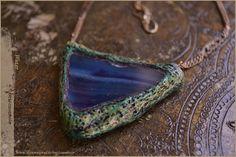 Collana amuleto elemento acqua con Agatablu  di Vocisconnesse, €35.00  Handmade necklace water element with blueAgate by Vocisconnesse