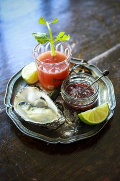 Bloody Mary Oyster Shooters with Raw Oysters and a Shallot Mignonette.An impressive dinner party canapé or starter Fish Recipes, Seafood Recipes, Appetizer Recipes, Cooking Recipes, Healthy Recipes, Raw Oysters, Fresh Oysters, Oyster Shooter, Party Canapes