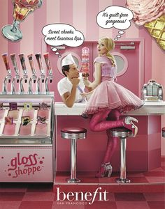 lip gloss as soda fountain taps! genius from benefit as usual! Benefit San Francisco, Cosmetic Web, Space Grunge, Get Glam, Sweet Cheeks, Soda Fountain, Aesthetic Drawing, Bright Eyes, Benefit Cosmetics