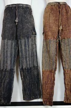 Pants Stripped Tibetan cotton hippy Mens Nepal yoga Comfy Unisex Summer patch