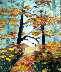 """Oil on canvas, knife painting """"Autumn in forest"""" Knife Painting, Oil Painting On Canvas, Oil Paintings, My Arts, Autumn, Passion, Horses, Fall, Oil On Canvas"""