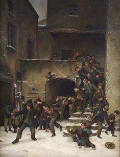 Meninos saindo da escola. 1867. Óleo sobre tela. Édouard Frère Pierre (Paris, França, 10/01/1819 - 20/05/1886, Écouen, França).