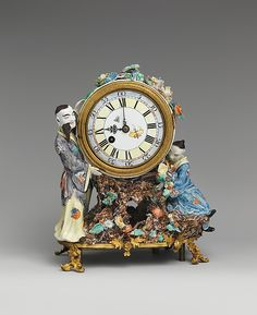 Clockmaker: Justin Vulliamy Maker: Case maker: Chantilly Date: ca. 1745 Culture: English (London) with French (Chantilly) case Medium: Case: soft-paste porcelain and gilt-bronze; Movement: brass and steel Tabletop Clocks, Mantel Clocks, Clock Decor, Grey Clocks, Cool Clocks, Chinoiserie, French Clock, French Rococo, Retro Clock
